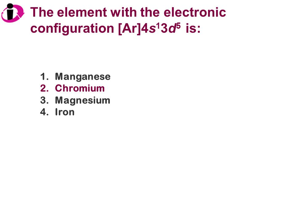 The element with the electronic configuration [Ar]4s13d5 is: